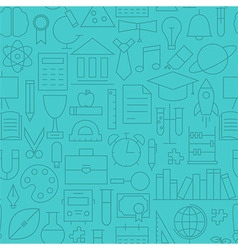 Thin Line Back to School Learning Seamless Blue vector