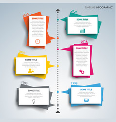 time line info graphic with paper colored design vector image