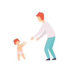 toddler baby taking first steps to his father vector image