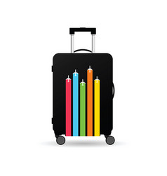 travel bag with airplane on it vector image