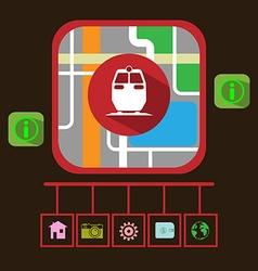 Travel by Electric Train GPS Navigation Map vector