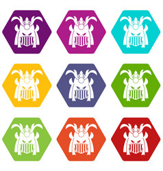 tribal helmet icon set color hexahedron vector image