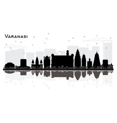 varanasi india city skyline silhouette with black vector image