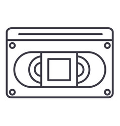 video cassete line icon sign vector image