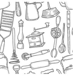 Vintage chef tools pattern vector