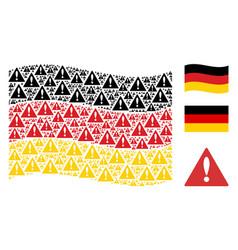 Waving germany flag pattern of warning items vector