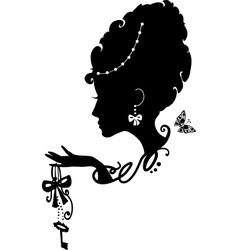 Woman with key and bow vector