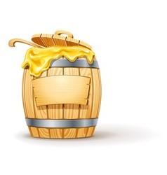 Wooden barrel full honey vector