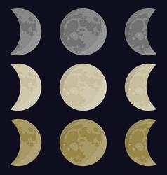 Yellow gray white moon vector