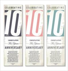 10 years Anniversary retro banner set vector image vector image