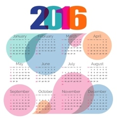 Abstract colorful calendar 2016 vector image vector image