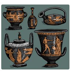 ancient greece antique amphora set vase with vector image vector image