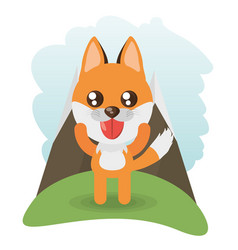 cute fox animal wildlife vector image