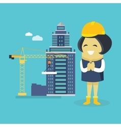 Female Engineer and Building Construction vector image vector image