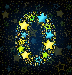 Number 0 cartoon star colored vector image