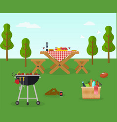 picnic bbq party outdoor recreation vector image vector image