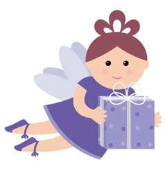 pretty fairy with a gift vector image vector image