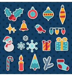 Set of Merry Christmas and Happy New Year icons vector image vector image