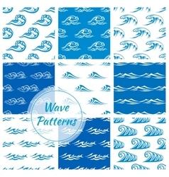 Waves water splashes seamless patterns set vector