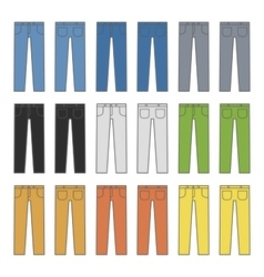 Denim Jeans Different Colors Set vector image vector image