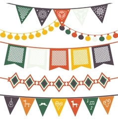 Hanging traditional mexican banners flags vector image