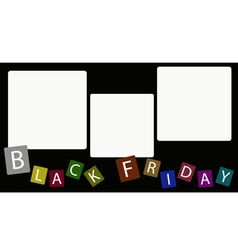 Three Square Label on Black Friday Background vector image vector image