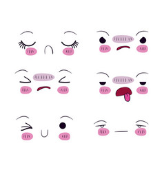 white background set for six different facial vector image