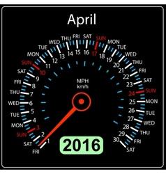 2016 year calendar speedometer car April vector image vector image