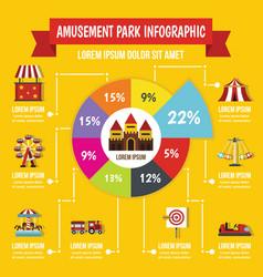 amusement park infographic concept flat style vector image vector image
