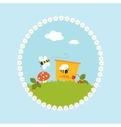 Cartoon flowers beehive fruits garden art vector image vector image