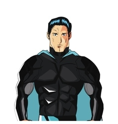 comic style male superheroe with black uniform and vector image