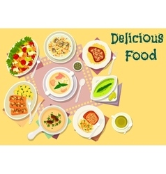 Popular soups with meat and fish dishes icon vector
