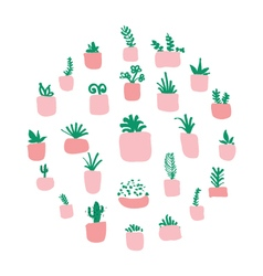 Potted plants arranged in circle vector image vector image