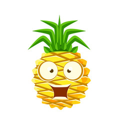 surprised funny pineapple with big eyes cute vector image vector image