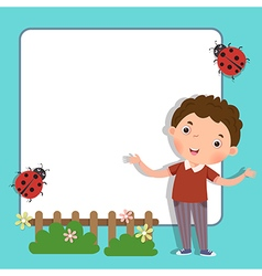 Background with cute boy vector image vector image