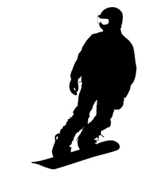 Black silhouette snowboarder on white background vector image vector image