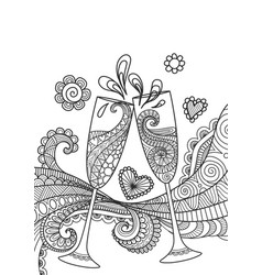 champagne glasses toasting vector image