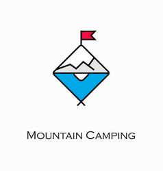 mountain camping icon vector image vector image