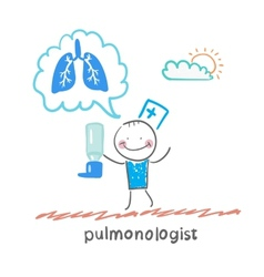 pulmonologist pulmonologist with asthma spray says vector image vector image