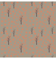 Seamless pattern with autumn leafs and trees vector image