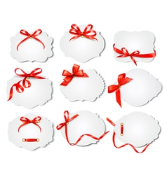 Set of beautiful cards with red gift bows with vector image vector image
