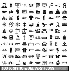 100 logistic and delivery icons set simple style vector