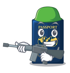 Army blue passport in the cartoon form vector