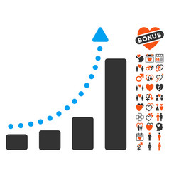 Bar chart trend icon with dating bonus vector