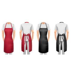 Black and red cotton kitchen apron set design vector