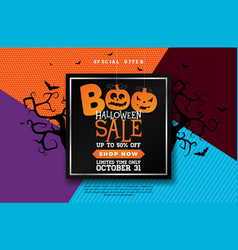 Boo halloween sale banner with scary vector