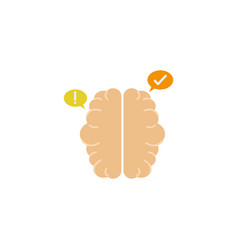 brain left and right idea icon flat style vector image