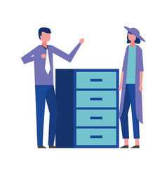 business man and woman office cabinet vector image