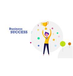 Business success flat design background happy vector