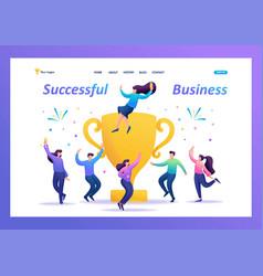 business team celebrates success flat 2d vector image